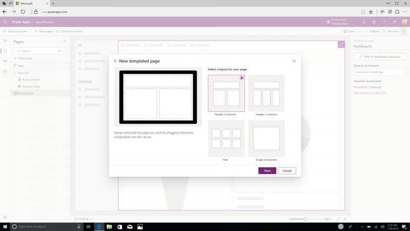 Adding a Custom Page in the Model-driven App Designer