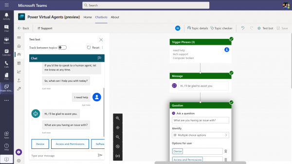 Using Power Virtual Agents on Microsoft Teams