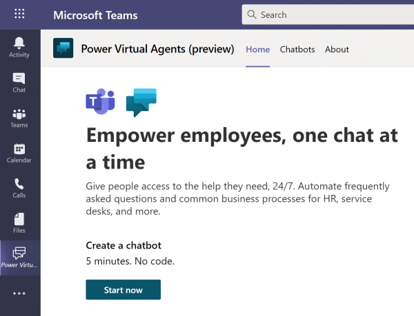 Power Virtual Agents on Microsoft Teams