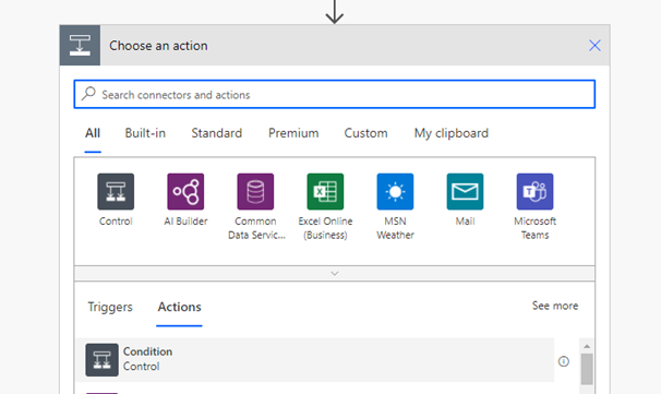 Add new Step with Condition under Actions tab