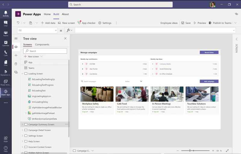 Power Apps Studio in Dataverse for Microsoft Teams